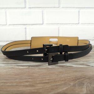 Worth small black leather split buckle belt